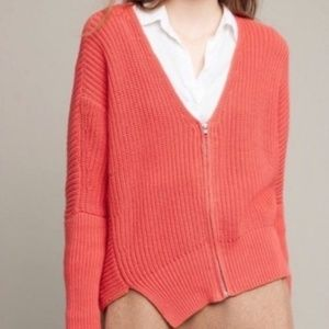 Anthro. Moth Knitted Coral Zip-Up Sweater Size L